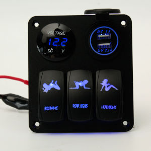 Waterproof Marine/Boat/Rvs/Truck Rocker Switch Panel 3 Gang with 2 Charger USB 2 Slot Blue LED Toggle Dashboard pictures & photos