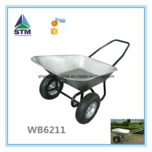 Garden Tool Galvanized Wheelbarrow with Two Wheel Wb6211