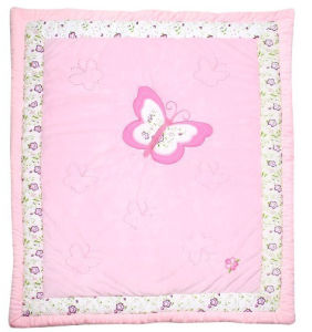 Satin Patchwork Quilt in Pink Deer Super Lovely for Girls for Crib Cot pictures & photos