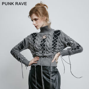 Pm-030 Punk Orianic Unique Cashmere High Collar Hollow Sweaters pictures & photos