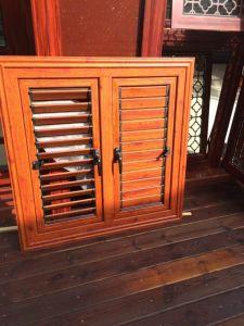 Commercial Wood Color Aluminum Sliding Window pictures & photos