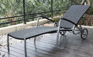 Waterproof Wicker &Cane & Rattan &Alumnium Frame Chaise Lounge with Wheels/ Outdoor Lounger with SGS Cerificate (BZ-C030)