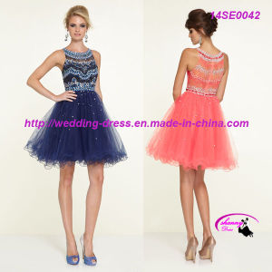 Coral Charming Cocktail Dress Sleeveless Round Neckline pictures & photos
