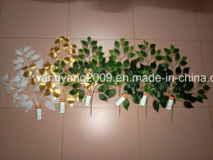 White Edge Green Fake Synthetic Artificial Ficus Banyan Leaves pictures & photos
