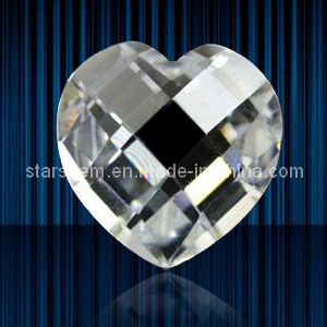 Heart Shape Checker Cut Cubic Zirconia Gemstones Loose Beads pictures & photos