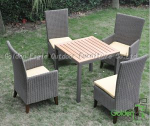Dining Set Rattan Furniture Plastic Wood Topand Wood Feet