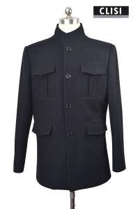 Black Color 4 Button Mandarin Style Men Blazer