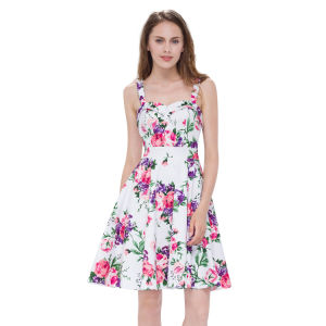 Pretty Women′s Short Floral Printed Dress pictures & photos