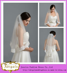 High Quality Latest Custom Made Two Layer Organza Ribbon Edge Bridal Short Wedding Veil Yj0128