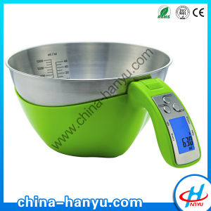 5kg Electronic Measuring Cup Kitchen Weight Scale Food Balance with Stainless Steel Bowl (EK6550)