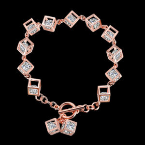 Western Style Hot Sale 925 Sterling Steel Bracelet Tridimensional Design and Zircon Inside Gold Color pictures & photos