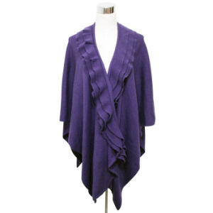 Lady Fashion Acrylic Knitted Shawl with Ruffle Collar (YKY4402) pictures & photos