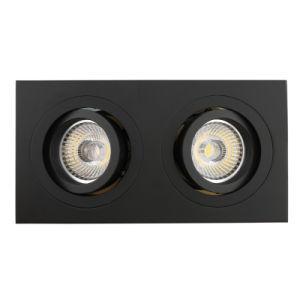Lathe Aluminum GU10 MR16 Multi-Angle 2 Units Square Tilt Recessed LED Downlight (LT2311B-2) pictures & photos
