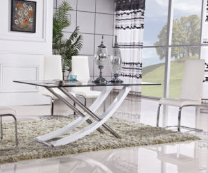 Stainless Steel Glass Dining Table with PU Chair (ET18 & EC07)