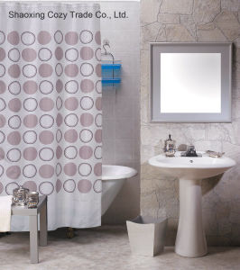 Popular Circle Design Shower Curtain Polyester pictures & photos