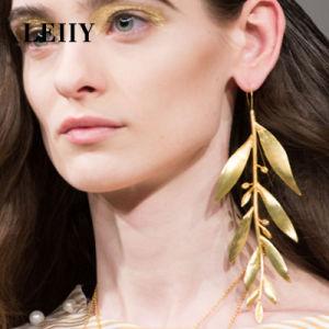 Design Satin Gold Color Leaf Long Statement Casting Drop Earrings pictures & photos