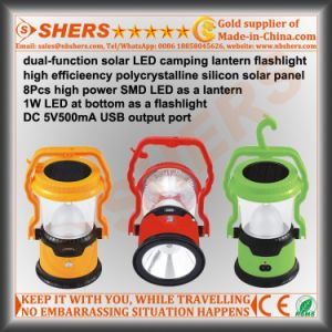 Solar Powered 8 LED Camping Lamp 1W Torch USB Outlet pictures & photos