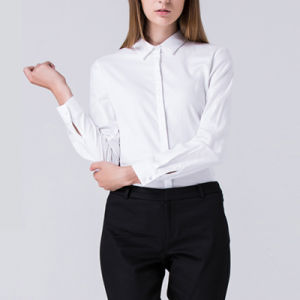 Women Stylish Stand Collar White Latest Ladies Formal Shirt Designs pictures & photos