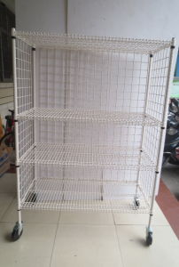NSF Powder Coating Metal Wire Security Cart Factory pictures & photos