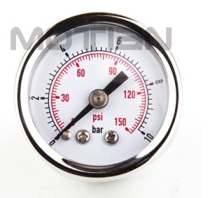 1.5 Inch Chrome Plating Watch Case Glass Surface Pressure Gauge with Safety Requirement