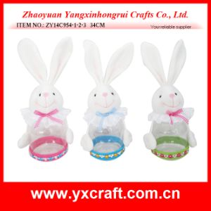 Easter Decoration (ZY14C954-1-2-3 34CM) Fabric Easter Bunny Decoration Candy Jar pictures & photos