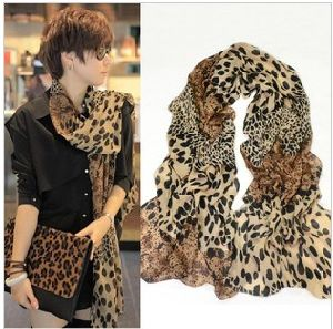 Lepoard Fashion Silk Feel Chiffon Scarf (CS03)