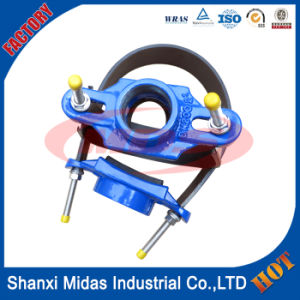 Ductile Iron Tapping Saddle with Stainless Steel Belt Are Designed for PVC Pipe, PE Pipe, AC Pipe, Steel Pipe and Ductile Iron Pipe pictures & photos