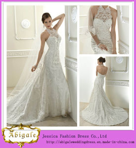 2014 New Fashion Elegant Unique White Sheath Halter Backless Lace Wedding Dress with Floor Length Sweep Train Tulle (MN1370)