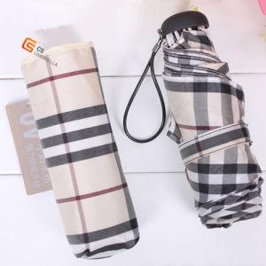 Check Fabric Compact Umbrella 5 Folding Mini Umbrella (YS-5F1003A) pictures & photos