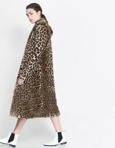 Lady′s Leopard Extra Long Plus Size S-Xxl Winter Faux Rabbit Fur Coat with Pocket Women′s 2014 New Fashion Fur Coat Wx056 pictures & photos