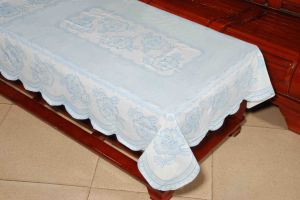 PVC Long Lace Tablecloth (JFTB-309A-Blue) pictures & photos