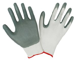 Gray Nitrile Coated Safety Working Gloves D003 pictures & photos