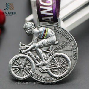 Customize Antique Silver 3D Bike Race Sports Running Medal with Ribbon (JIABO-JP1688) pictures & photos