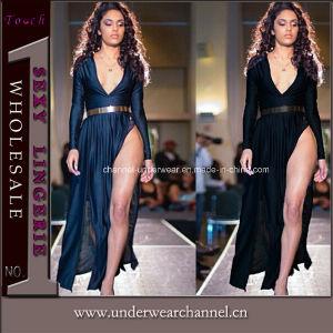 Wholesale Fashion Black V-Neck Silk Maxi Long Dress (6742) pictures & photos