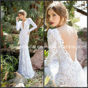 V-Neckline Wedding Dress Long Sleeves Sheer Lace Bridal Gowns W7135 pictures & photos