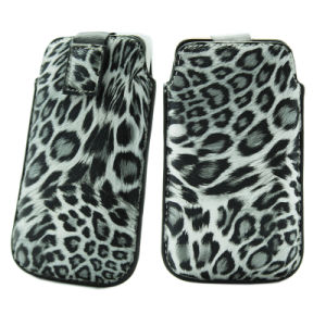 Leopard PU Slim up Universal Leather Phone Case pictures & photos