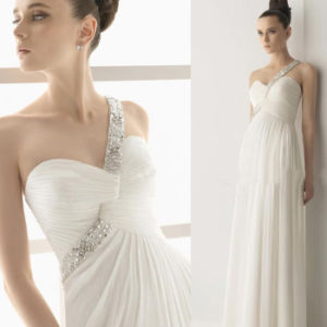 New Arrival Charming Floor Length One-Shoulder Organza Chiffon Dress Elie Saab (WD68)