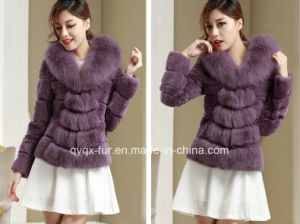Women′s Winter Warm Rabbit Fur Coat with Fox Fur V Collar pictures & photos