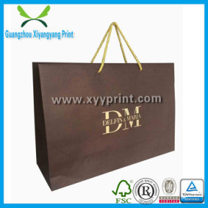 Custom Low Cost Kraft Paper Shopping Bag with Gold Logo Print pictures & photos