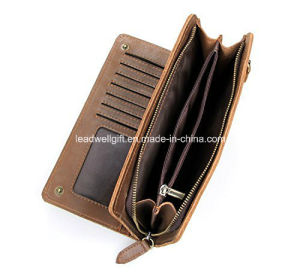 Men′s Long Bifold Wallet Leather 13 Card Slots Cellphone Organizer pictures & photos