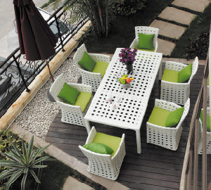 White Color Outdoor Furniture Sofa Set/Outdoor Rattan Furniture Table Set (BZ-D068)