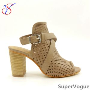 Two Color Sex Fashion High Heeled Women Lady Sandals Shoes for Socially Business Sv17s001-03-Tan