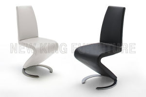 European Style Z Shaped Genuine Black Leather Dining Chair (NK-DC003) pictures & photos