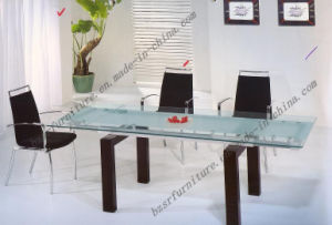Tempered Glass Spray Paint Iron Tube Dining Table (ST-5202)