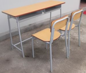 Popular Student Furniture School Double Desk Set for Sale (SF-59) pictures & photos