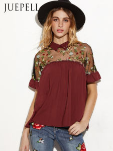 Embroider Sheer Mesh Insert Tie Back Blouse pictures & photos