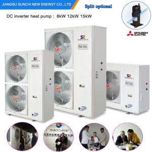 Runing at -25c Very Cold Winter Area Floor Heating+55c Hot Water 12kw/19kw/35kw Auto-Defrost Evi Heat Pump Air Water Inverter pictures & photos