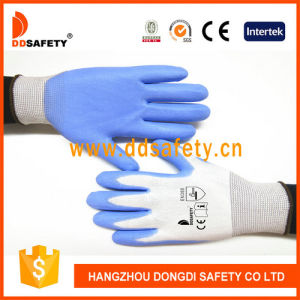 Ddsafety 2017 Blue PU Coated Nylon Work Gloves pictures & photos