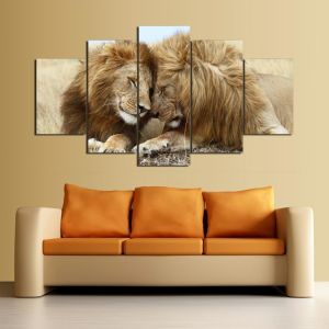 HD Printed Lion Painting Group Painting Canvas Print Room Decor Print Poster Picture Canvas Ym-012 pictures & photos