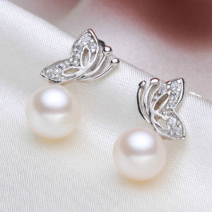 Cultured Freshwater Pearl Earring Button Fly Shape pictures & photos